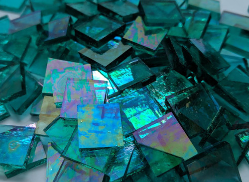 Turquoise Green Iridescent Stained Glass Mosaic Tiles COE 96