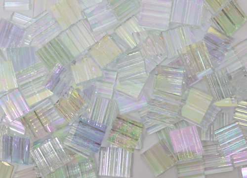 "1/2"" x 1/2"" Clear Ruffled Iridescent Stained Glass Mosaic Tiles (100 tiles)"