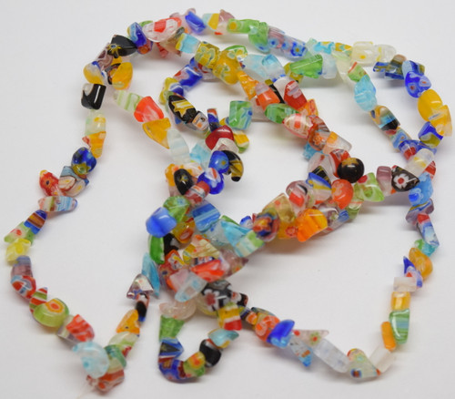 "MILLEFIORI CHIP BEADS 34"" strand (approx. 180 pcs.)"