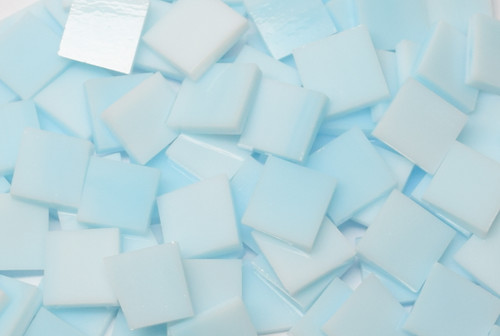 Sky Blue Pastel Handcut Stained Glass Mosaic Tiles