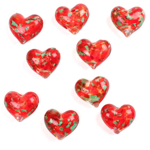 1 Round Glass Heart 25mm - ELECTRIC RED & GREEN SPECKLED