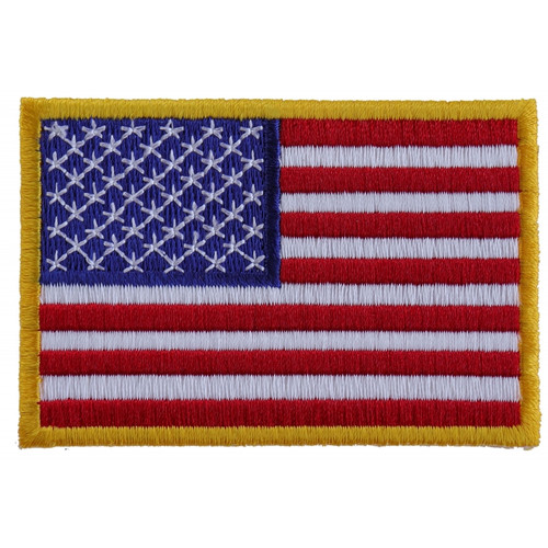 Forever And Always Carries US American Flag with gold border 3 x 2 Patches