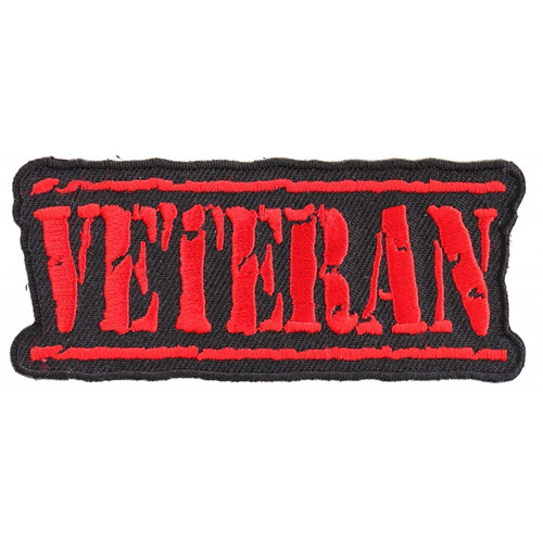 Forever And Always Carries VETERAN distressed in red 3.5 x 1.5 Patches