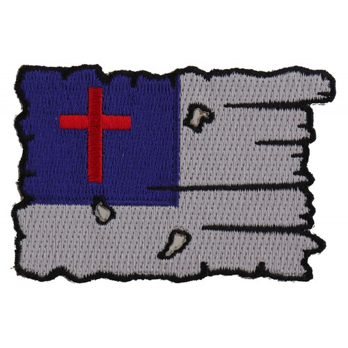 Forever And Always Carries Tattered Christian Flag 3 x 2 Patches