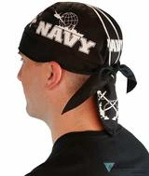 Side view of American Made NAVY du rag (skull caps, doo rags) from Forever And Always in Farmerville, LA.