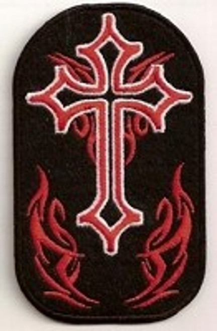 "Forever And Always carries Biker Patches;Biker Patches/Christian Biker Patches Cross With Red Flames Patch 2.5"" X 4"""