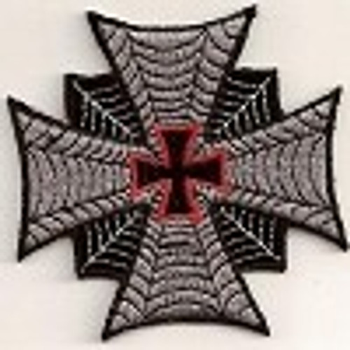 Forever And Always carries Biker Patches Iron Cross With Red Center Cross Patch 3""