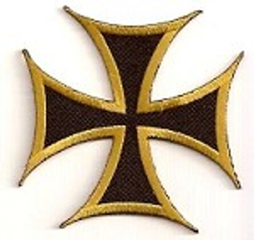 Forever And Always carries Biker Patches Iron Cross Patch with Bronze Outline