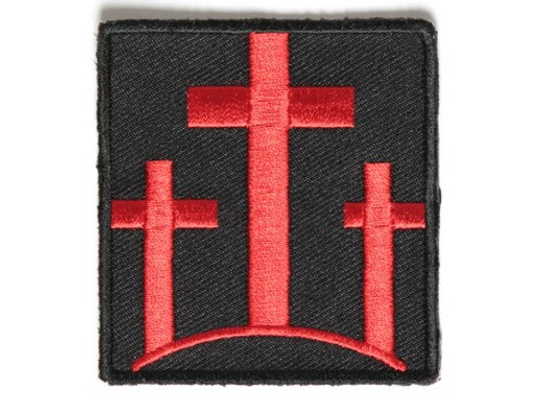 Forever And Always carries Biker Patches Three Crosses in Red Patch