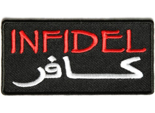 Forever And Always carries Biker Patches INFIDEL in red in Arabic