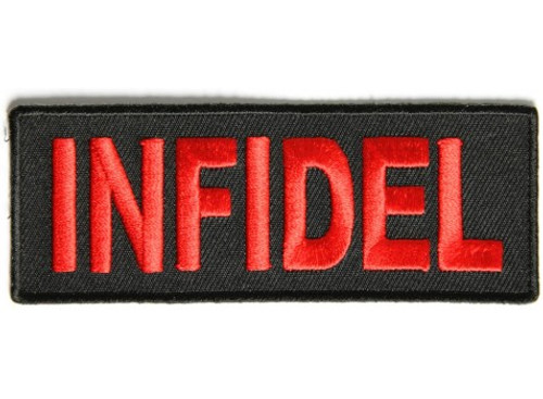Forever And Always Carries INFIDEL in bold and red 4 x 1.5 Patches