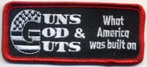Forever And Always carries Biker Patches;Biker Patches/Veteran - Patriotic Patches Guns God  Guts What America Was Built On Patch