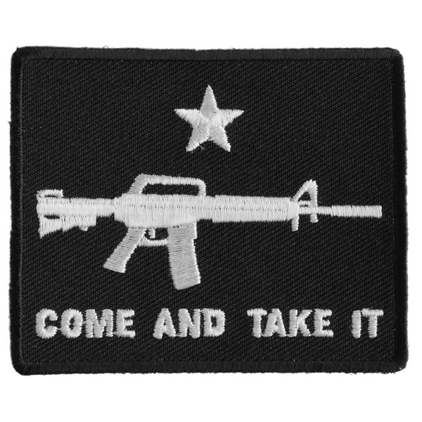 Forever And Always carries Biker Patches;Biker Patches/Veteran - Patriotic Patches Come And Take It rifle on black