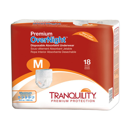 Tranquility Overnight Disposable Absorbent Underwear Medium Package  | Best Overnight Adult Diapers | Comfort Plus Adult Diaper Supplies