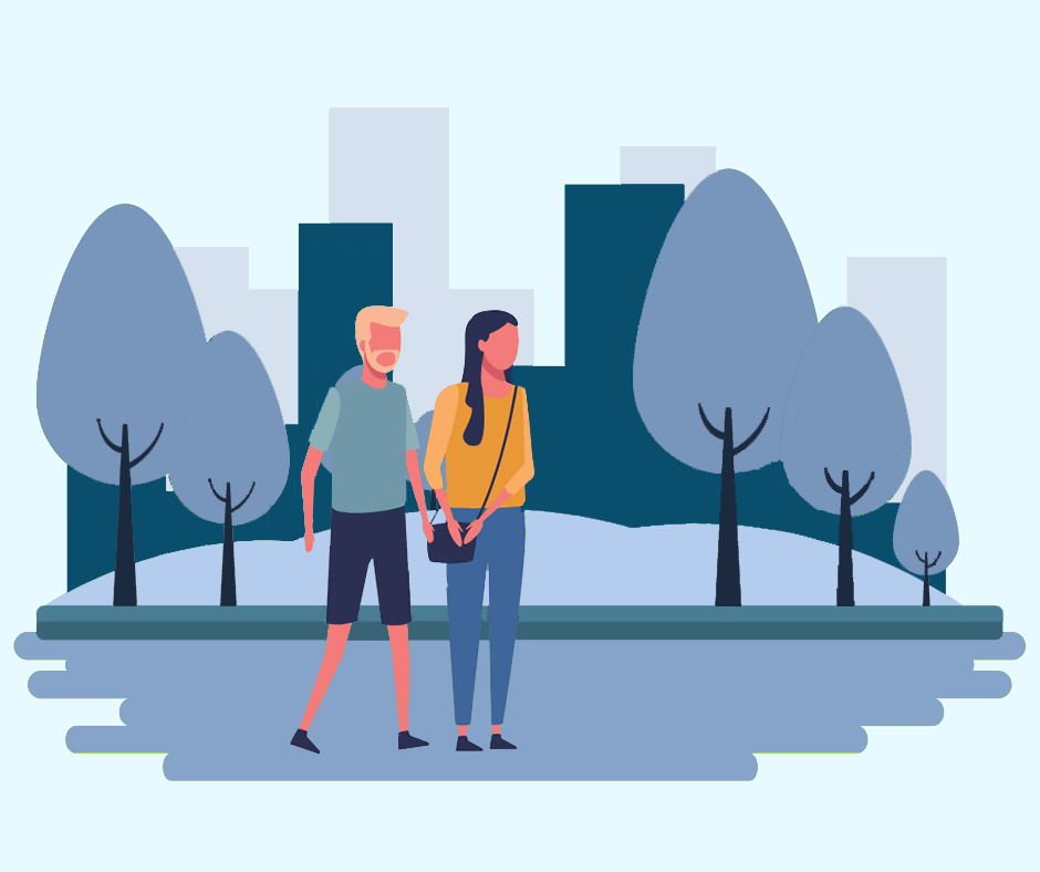Couple Walking Graphic