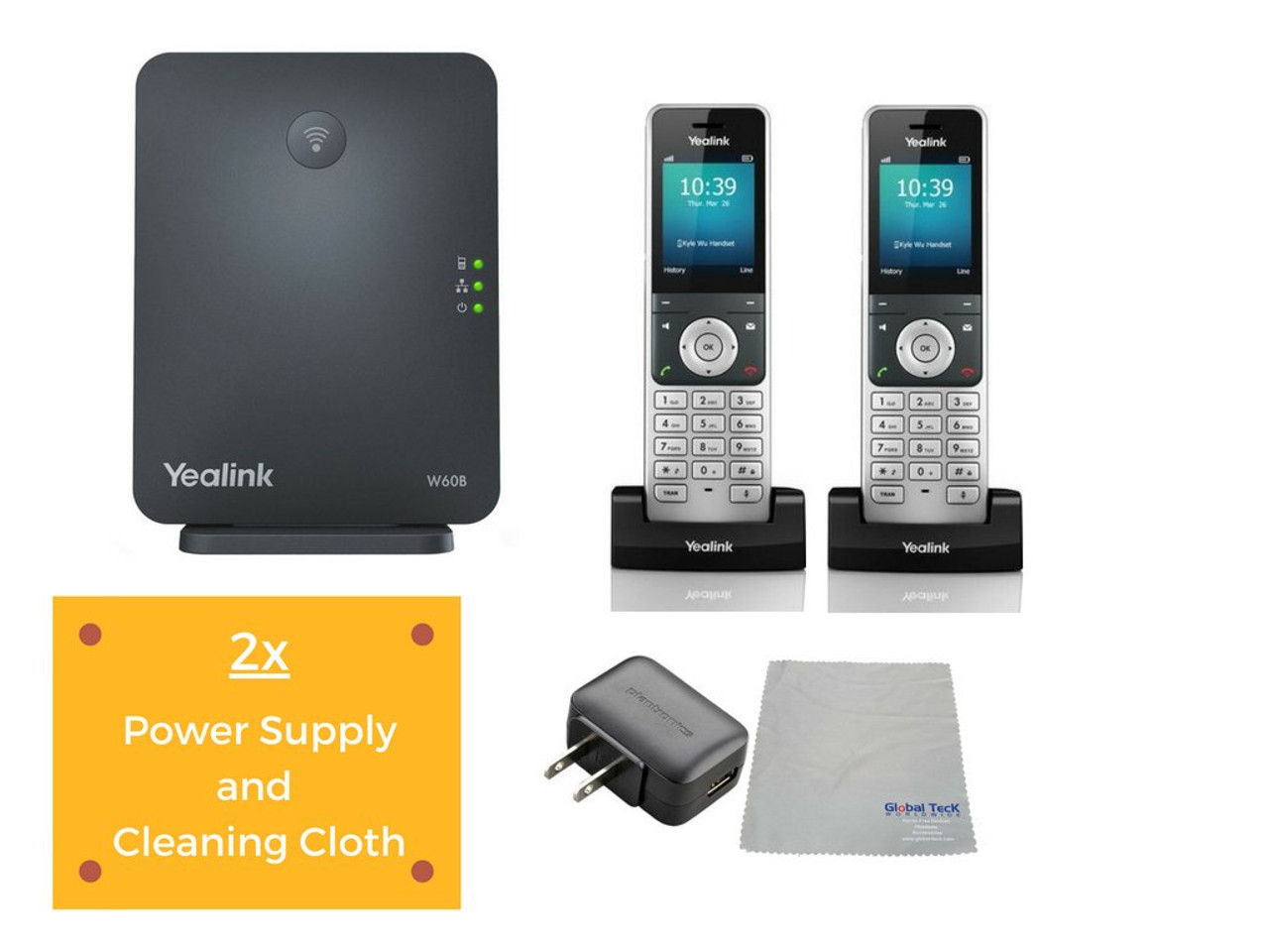Yealink Cordless Phones Office W60 IP Bundle | DECT Handset, Base Unit,  Power Supply (Yealink W60B DECT Base and 2 Handsets) | #YEA-W60P-VB2