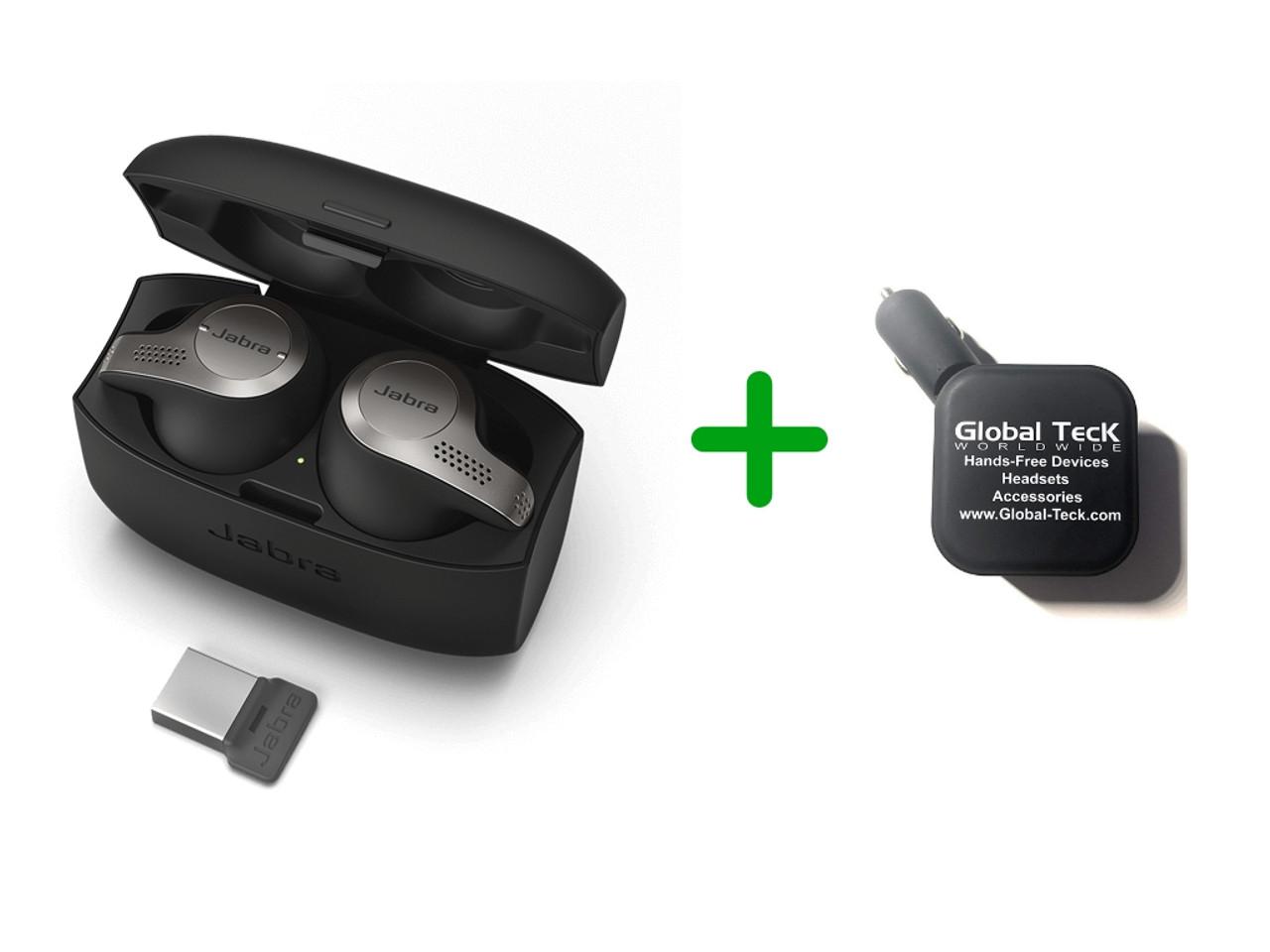 Jabra 65T Bluetooth Headset Earbuds - Evolve 65T | Wireless Bluetooth for  Music | UC Version | #6598-832-209-C