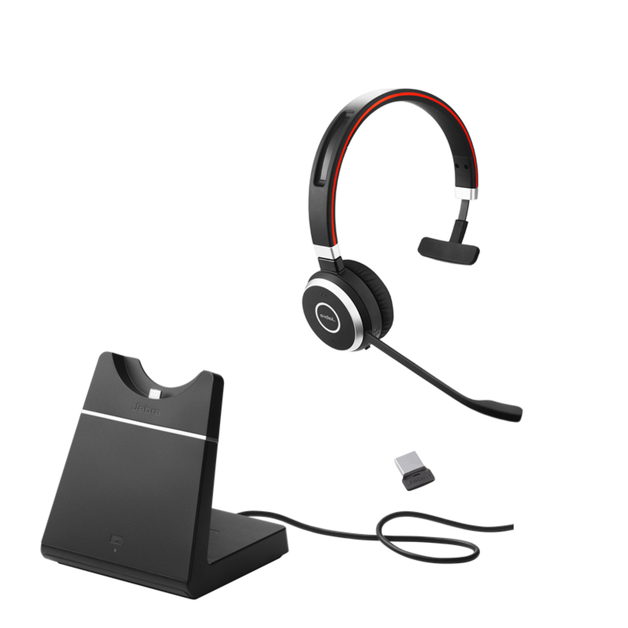 Jabra Evolve 65 Bluetooth Mono Headset Bundle With Charging Dock Uc Version Bonus Wall Charger Usb Dongle And Charging Stand 6593 823 499