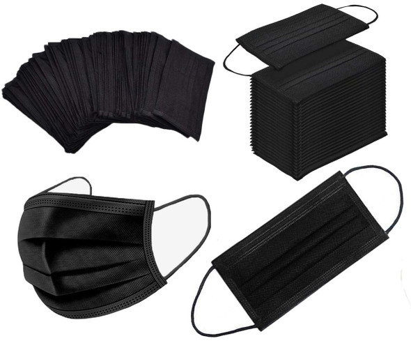 DISPOSABLE FACE MASKS (BLACK)