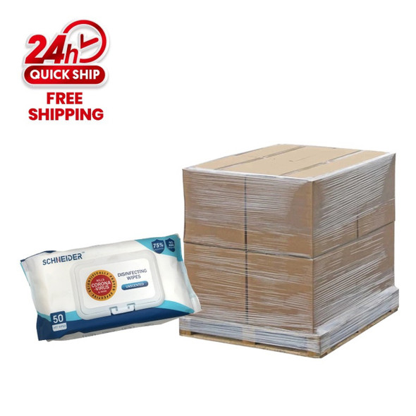 75% ALCOHOL 50 WIPES 1 PALLET 48''X48''X78''/2500PCS