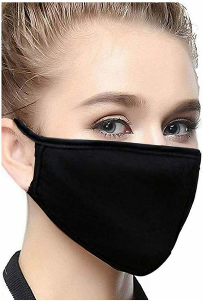 Black Cotton Mask (2 layer )Standard