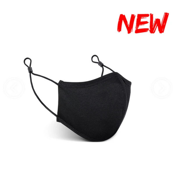 3D Black Cotton Mask (2 layer ) with Adjustable Earloop