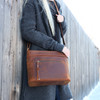 Lovely dark patina for the Delaney Leather Crossbody Purse