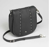 Fashionable chrome and black design with long strap gives elegance to this concealed carry purse