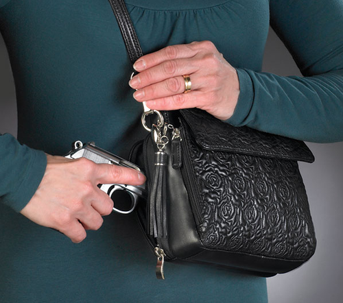 Beautiful embroidered lambskin concealed carry handbag