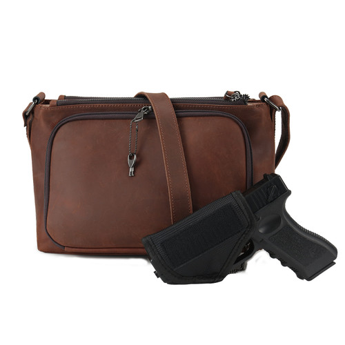 Large frame pistol securely carried in this purse