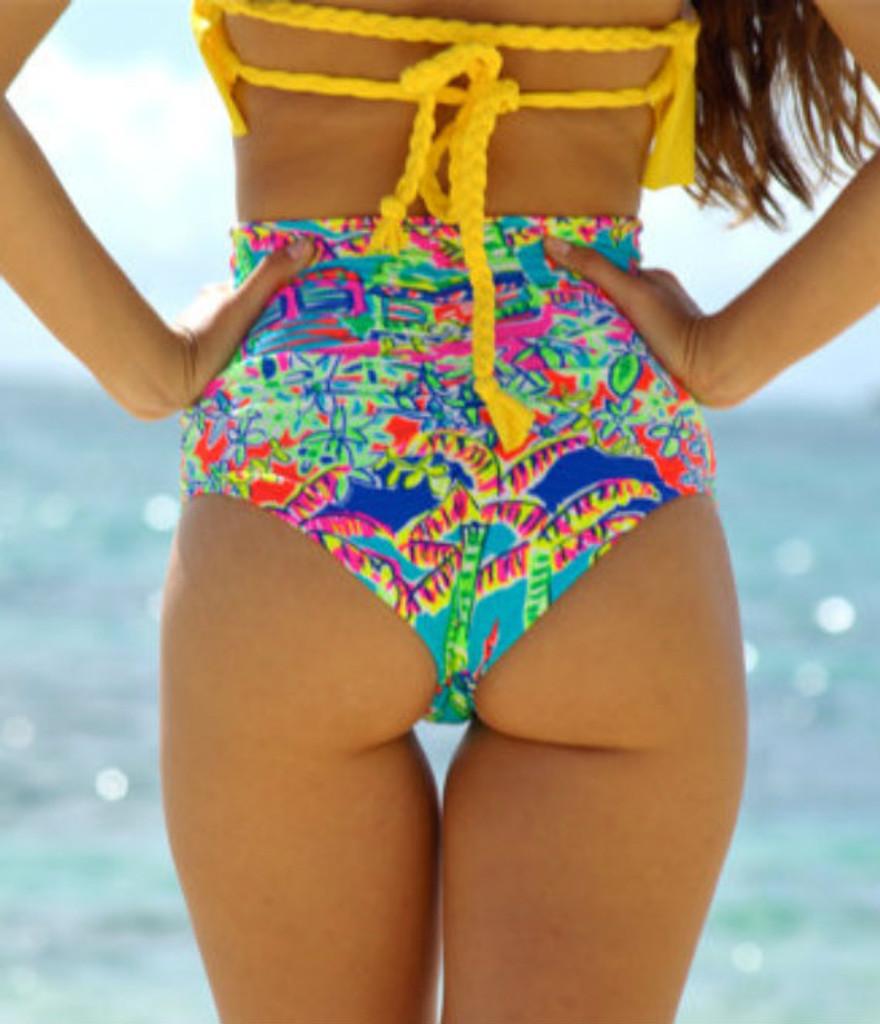 bc7c5390ef Wawa Scrunch - High Waisted Retro Style Bikini Bottom Customize Size ...