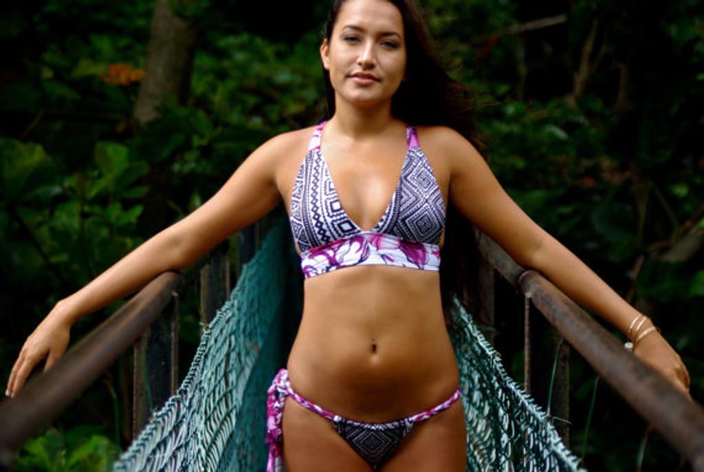 98c399d1079b2 Chun s Halter Bikini Criss Cross Surfer Top Customize Size   Choose ...