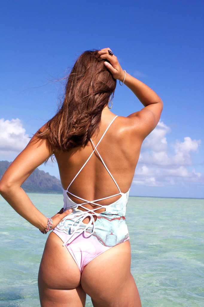 A Hanalei Reversible Lace-Up Back - High Cut Cheeky or Moderate One Piece  bathing suit Customize Size & Choose from 50+ Fabrics
