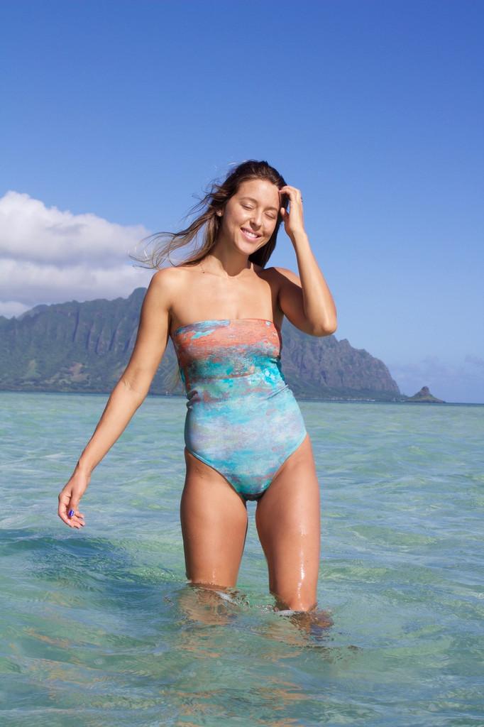 A Kalaheo Reversible Bandeau One Piece Swimsuit Customize Size & Choose from 50+ Fabrics