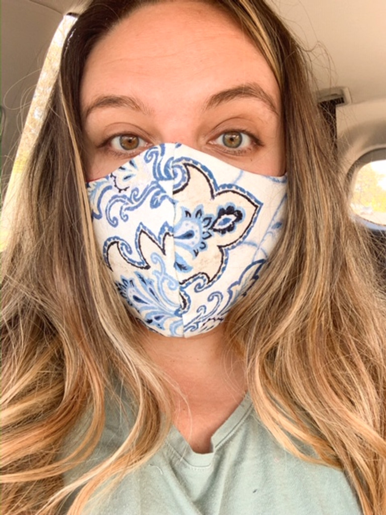 Adult Face Mask (v16FH)  with Opening for add on Filter - Filter Not Included - Cotton Double Layer - Reversible - Adjustable Ear Ties- Instructions: WASH BEFORE WEARING (Ships Free to USA ONLY with Coupon Code: FreeShipFaceMask)