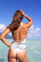 AA Hanalei Reversible Lace-Up Back - High Cut Cheeky or Moderate One Piece  bathing suit Customize Size & Choose from 50+ Fabrics