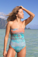 A Kalaheo Reversible Bandeau One Piece Swimsuit Customize Size & Choose from 50+ Fabrics