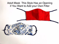 Toddler (3-6 yrs) Face Mask (v9FH)  with Opening for add on Filter - Filter Not Included - Cotton Double Layer - Reversible - Adjustable Ear Ties- Instructions: WASH BEFORE WEARING (Ships Free to USA ONLY with Coupon Code: FreeShipFaceMask)