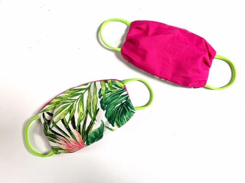 Side 1 Tropical Leaf Print Side 2 Hot Pink