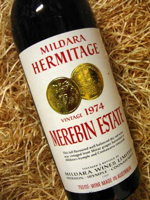 Mildara Merebin Estate Shiraz 1974 (Base of Neck Level)
