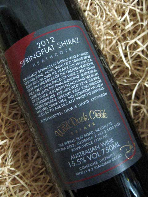 Wild Duck Creek Springflat Shiraz 2012