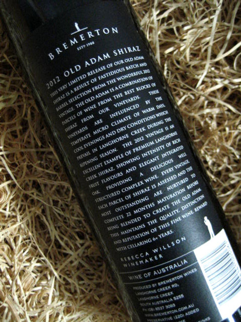 Bremerton Old Adam Shiraz 2012