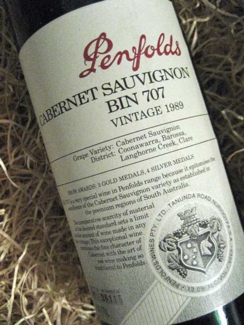 Penfolds Bin 707 1989 (Base of Neck Level) (Minor Damaged Label)