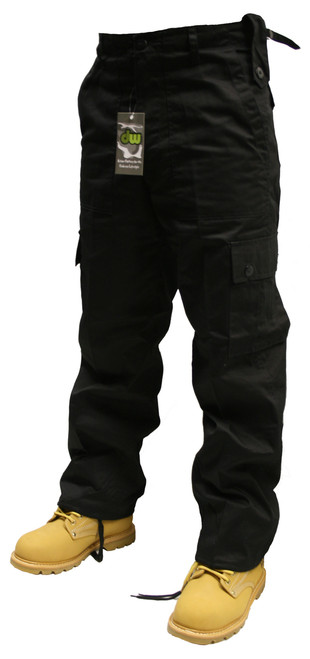 Mens Black Combat Cargo Trousers