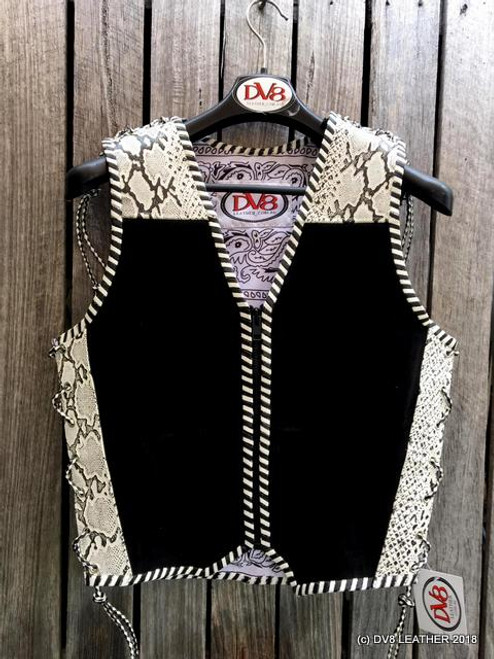 e00685336c zipper front suede biker vest with snake printed leather trim by DV8 leather
