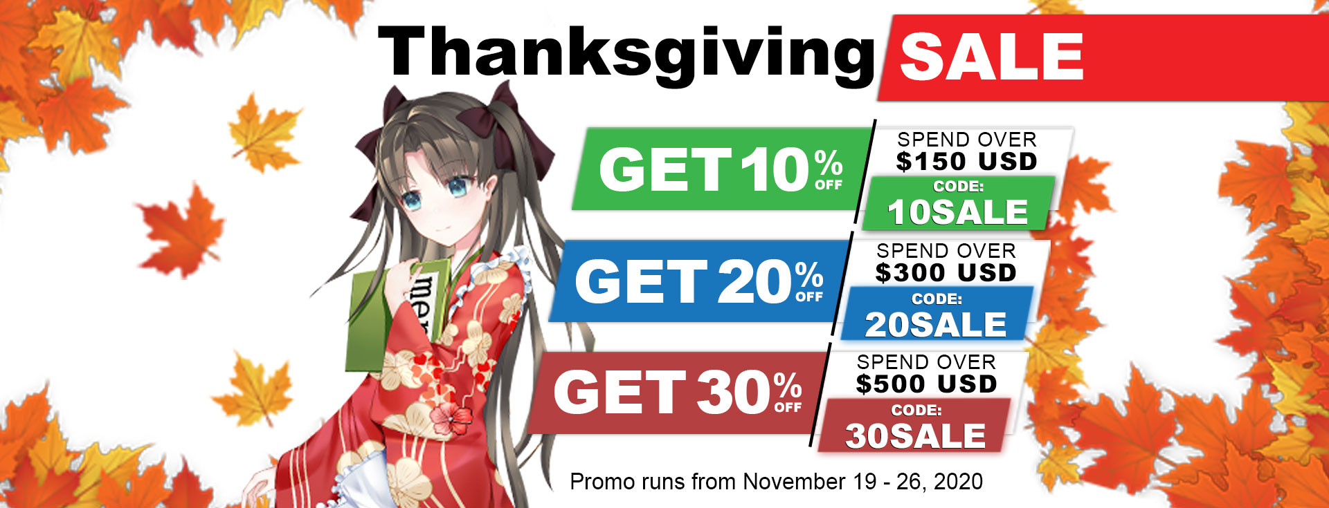 Anime Dakimakura Pillow Thanksgiving Sale