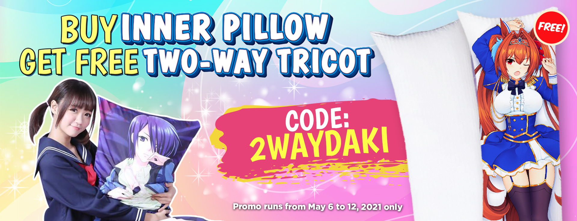 Buy 1 Inner PIllow, Get 1 Free Two Way Tricot Daki V2 (May)
