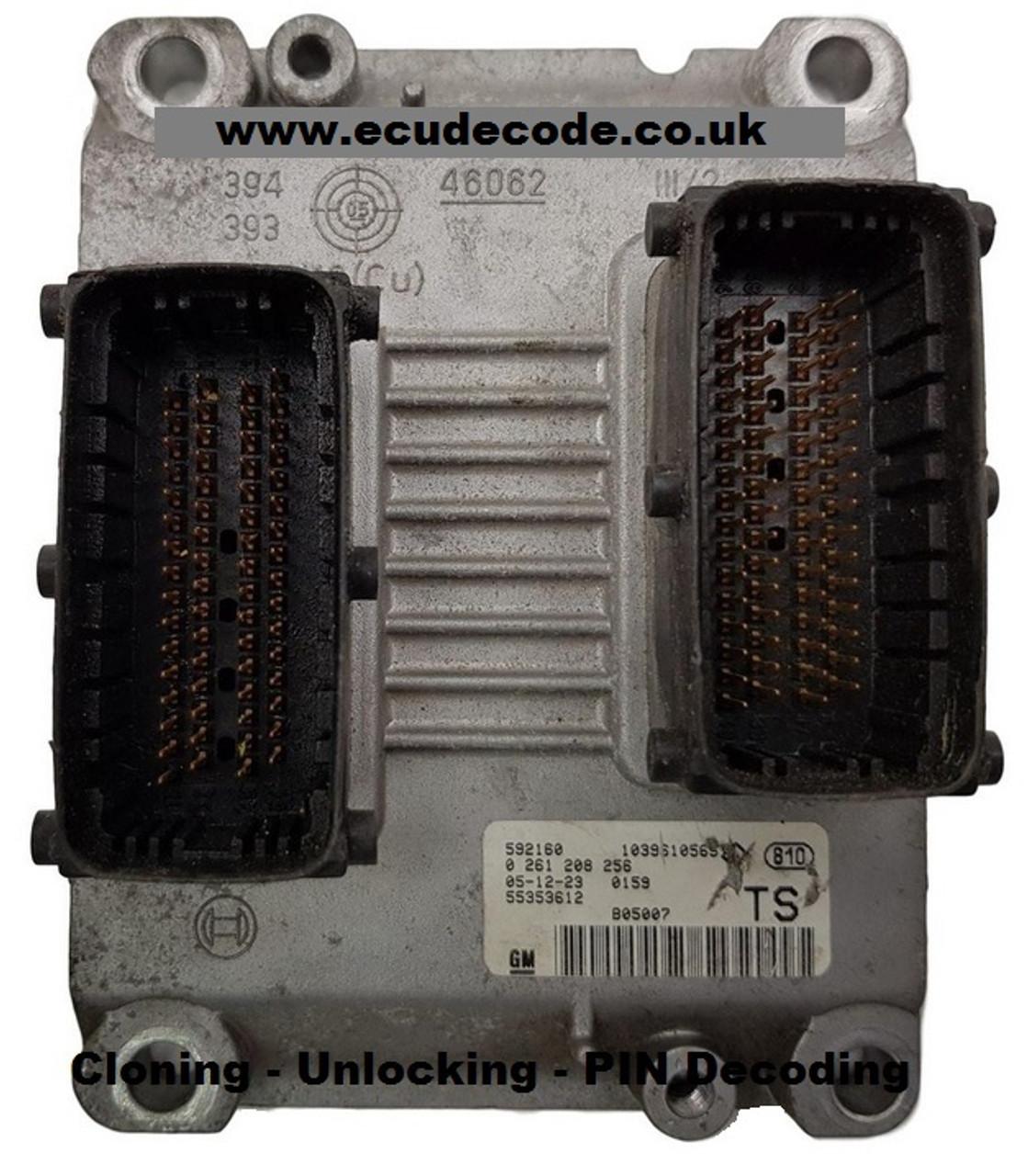 55353612 TS 0261208256 Vauxhall Petrol ECU Plug & Play Services