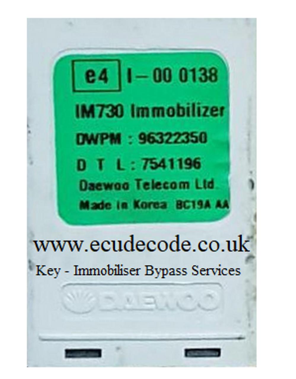 96322350 Daewoo - Chevrolet Matiz Immobiliser Box - Key Transponder