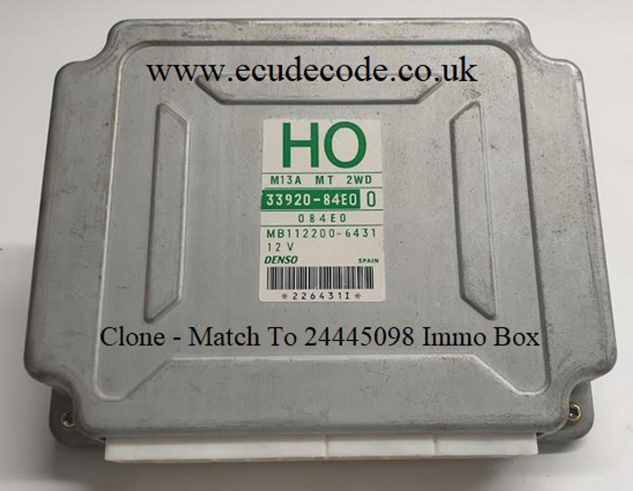 33920-84E0 | H0 | M13A MT 2WD | MB112200-6431 Suzuki Wagon R Plug & Play ECU - Clone Or Match To Immobiliser Box 24445098 LS From ECU Decode Westbury Wiltshire GB